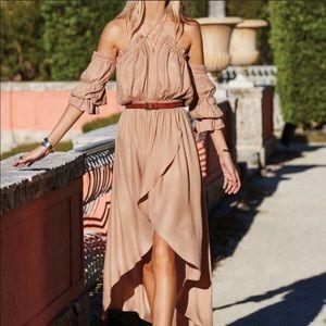 Elan Tan off shoulder Midi Dress